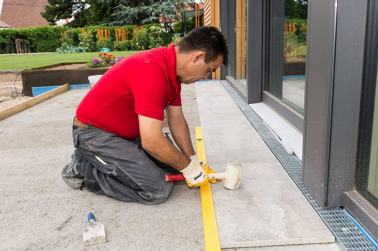 Terrassenplatte Teilgebundene Verlegung   jonastone